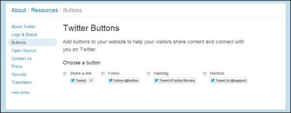 install Twitter buttons