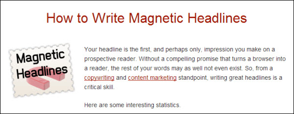 Write magnetic headlines