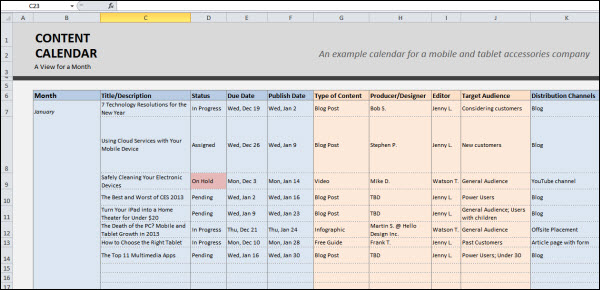 MS Excel for calendars