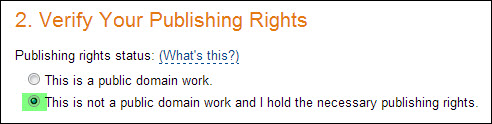 verify your publishing rights
