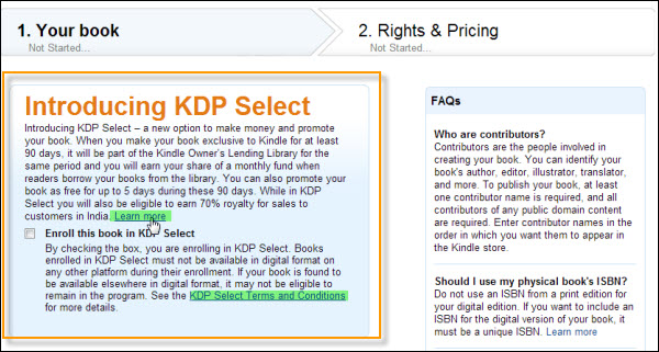 KDP select enrollment