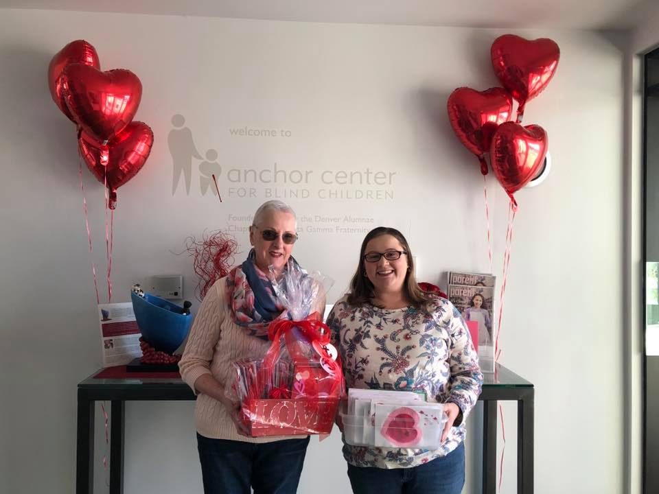 VP: Foundation Pat Denton and president Katie Denton delivering 110 tactile Valentines to the Anchor Center for their students! Thanks to everyone who helped out, including 89 Phi collegians!