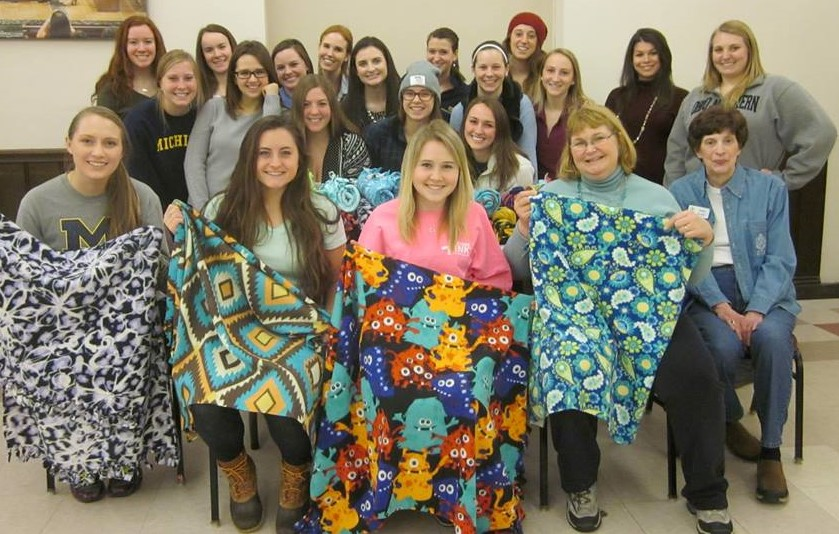 Fleece Blanket Making with the Alpha Gammas