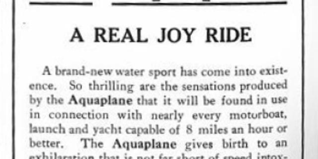 1911 yılından Aquaplane ilanı