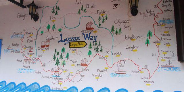 Eski Likya Yolu haritası