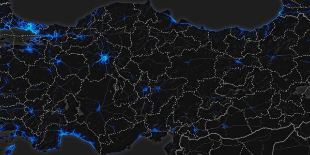 Mavi ışıklar Strava kullancılarının yoğunluğunu ortaya koyuyor