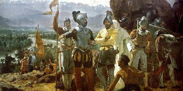 Juan de Cavallón ve diğer kaşifleri resmeden bir çalışma