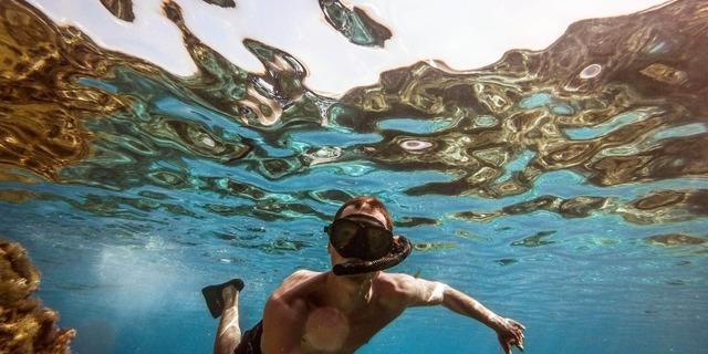 Denizi keşfetmek için şnorkel, maske ve palet yeter