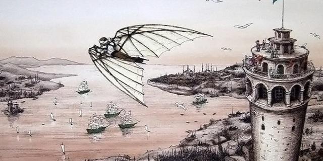 Hezarfen Ahmet Çelebi'nin uçması üzerine bir illüstrasyon