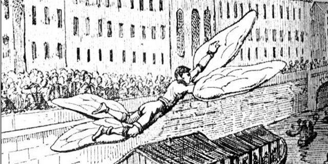 Bacqueville'in uçma denemesini gösteren bir illüstrasyon