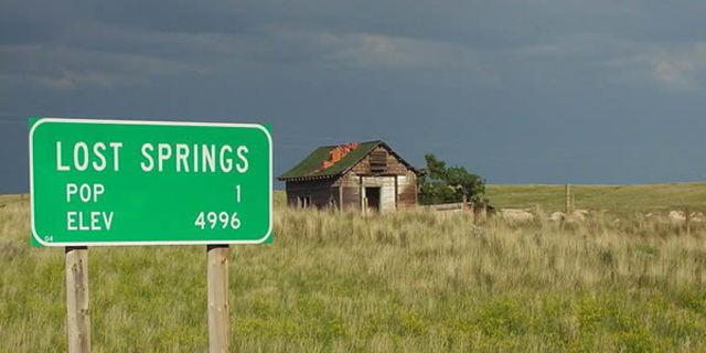 İşte Lost Springs kasabasının tek evi