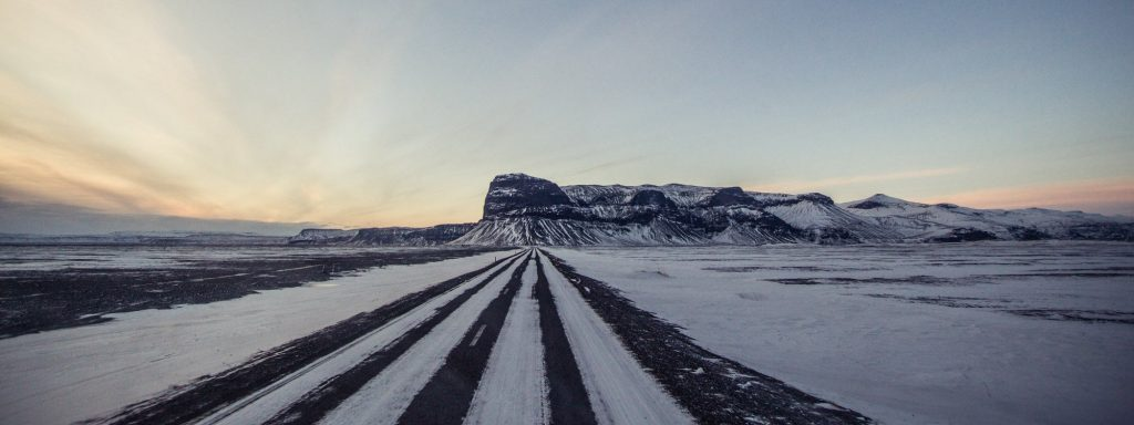 Icelandic road in winter