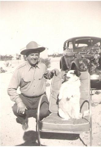 Bill Cazneau & dog, California