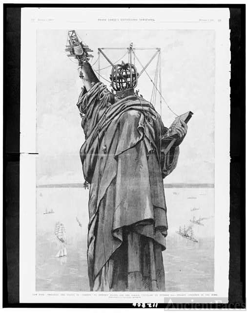 "New York - Preparing the Statue of ""liberty"" on Bedloe's..."