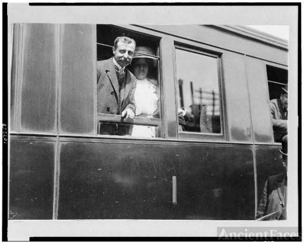 [Louis Blériot on his return with wife on train from...