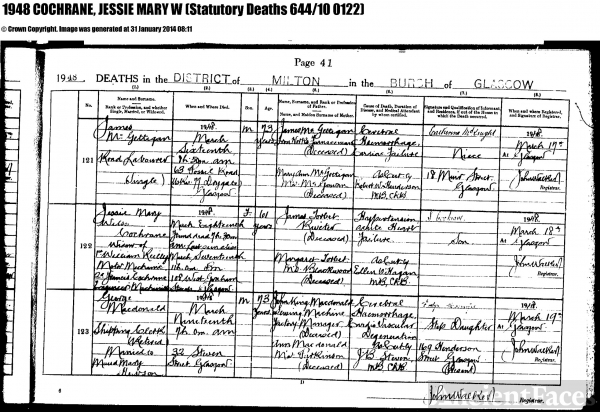 James Torbet Reilly death certificate