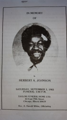 Herbert Johnson funeral card