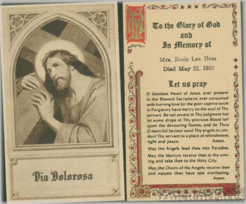 Funeral card for Rosie Lee Frank Hess