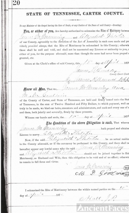 Marriage Bond James M. Manning & Elizabeth P. Flet