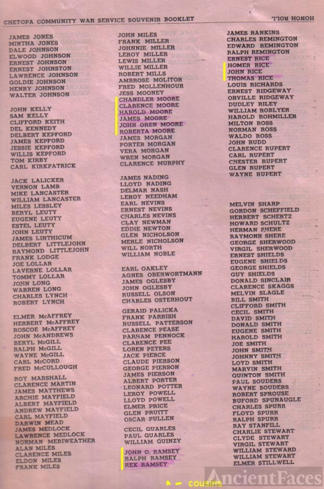ted stafford's Kansas servicemen list, WW II
