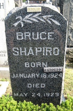 Bruce SHAPIRO 5y4mo6days died 24May1929s/oJoseph&Sadie (NEWMAN)SHAPIRO