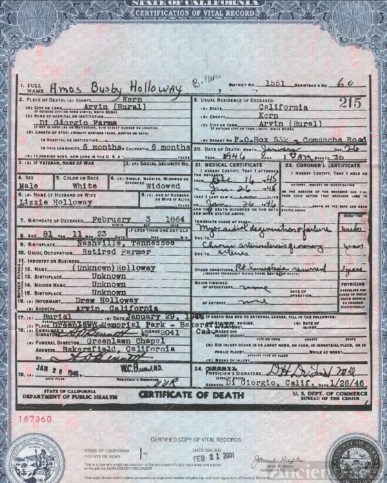 A.B. Holloway Death Certificate, 1946 CA