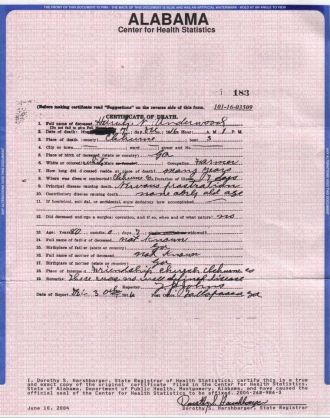 Harvy Newt Underwood death cert