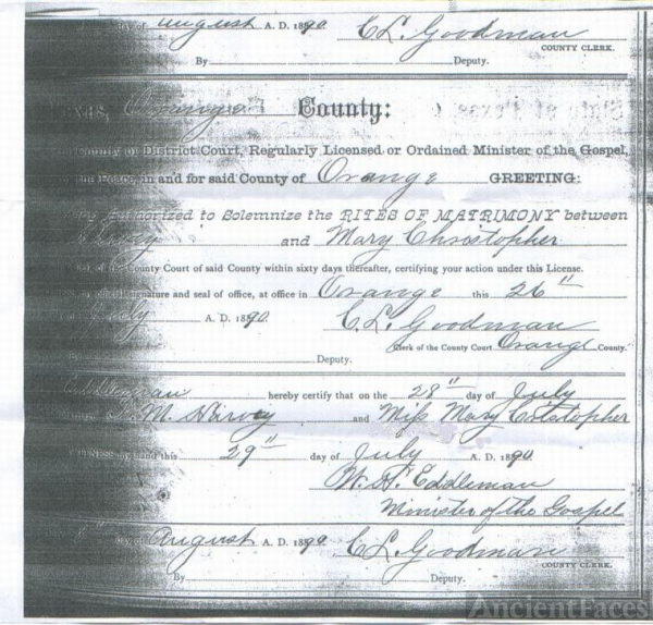 Marriage License of Mary Christopher & Francis M.