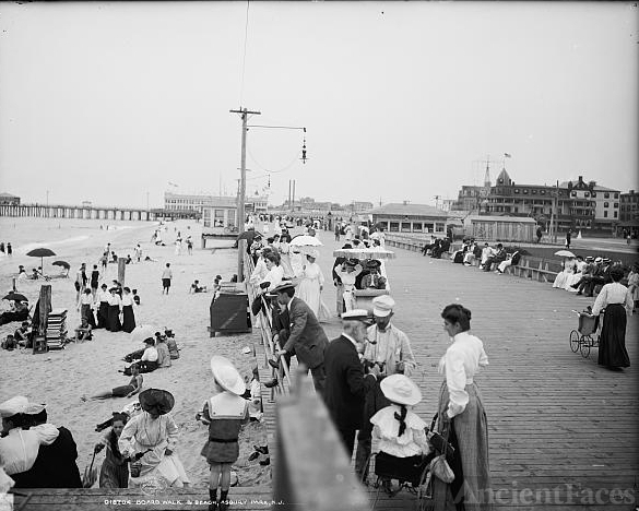 Board walk & beach, Asbury Park, N.J.