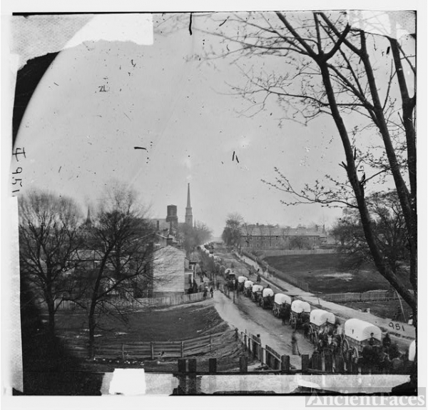 [Petersburg, Va. The first Federal wagon train entering...