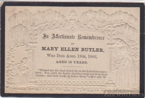 Mary Ellen Butler Funeral Card
