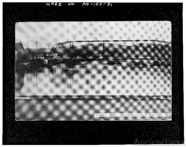 31. Photocopy of postcard titled 'Newberry Bridge,...