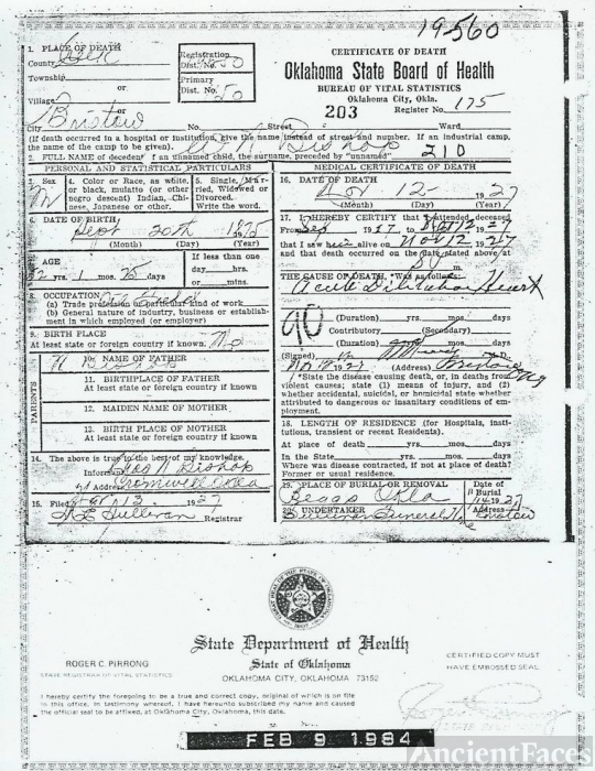Ida Cora Belle Sharp Death Certificate