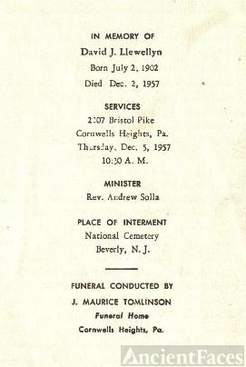 David J Llewellyn's Memorial Card