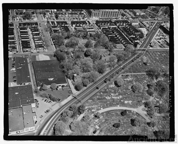 AERIAL VIEW, THE TRIANGLE OF OPEN SPACE AT CENTER, ACROSS...