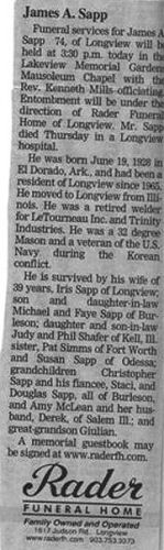 Obituary of James A. Sapp