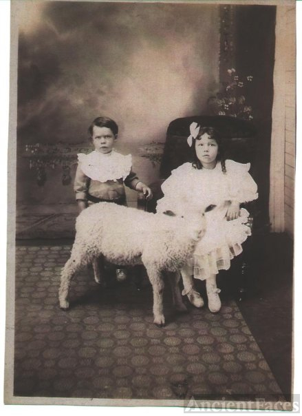 Charles and Antoinette Campeau with their pet goat 1907