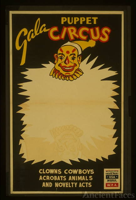 Gala puppet circus Clowns, cowboys, acrobats, animals,...