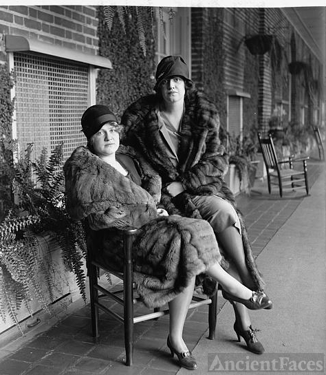 Elizabeth and Phoebe Edwards in fur coats