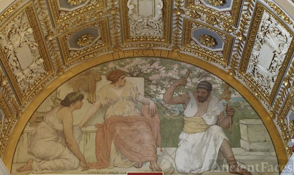 [South corridor, first floor. Mural depicting Hercules...