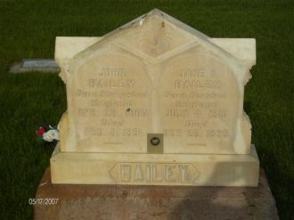 John Bailey & Jane Allgood headstone