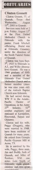 Obituary of Clinton Gossett, native of Eldorado Ok
