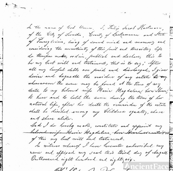 Philip Jacob Hartman's will