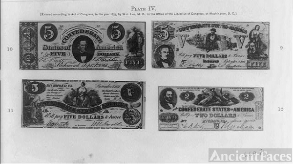 [Reproductions of three Confederate five dollar bills and...
