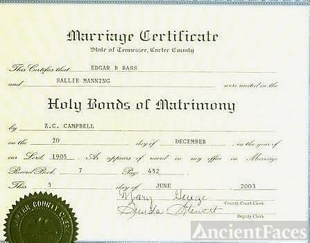 Marriage Certificate Sallie Manning & EdgarB. Bass