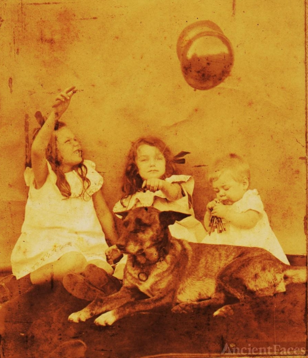 Unknown Girls with Dog and Balloons