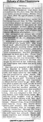 OBITUARY OF Alice Fitzsimmons, 1893