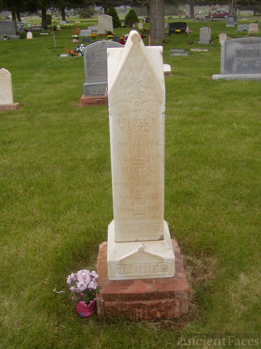 Gravestone Of Orange Warner & Mary Elvira Tyler