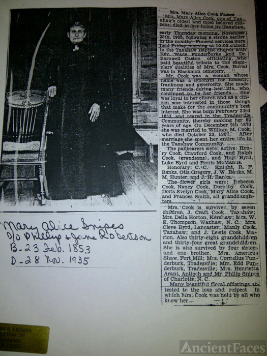 Picture and Obituary, Mary Alice Snipes Cook