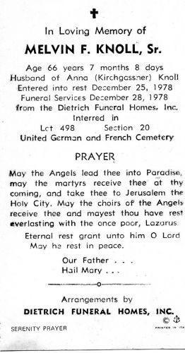 Melvin F. Knoll Sr funeral card